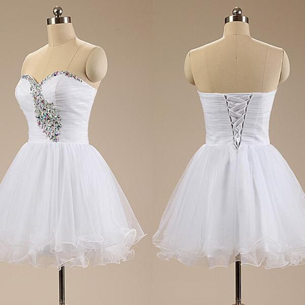 Elegant White Short Homecoming Dresses,2015 Sexy Prom Dresses,Sweetheart Homecoming Dresses,Crystals Girls Homecoming Party Dresses