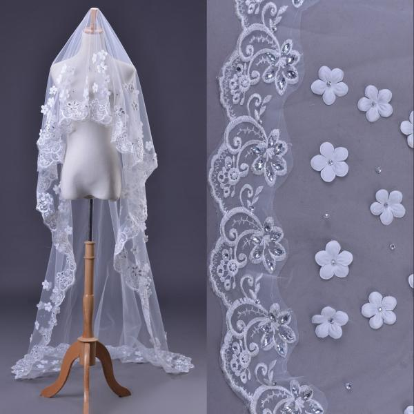 White Lace Wedding Veil Long Lace Hem One Layer 3 Meters Appliqued Crystals Tulle Wedding Veil Bridal Accessories
