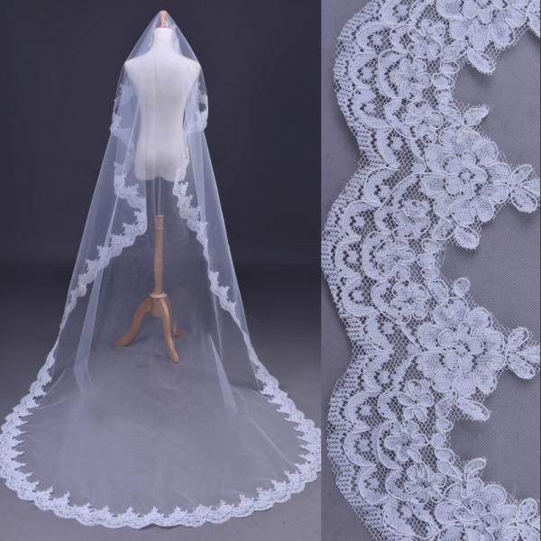 Free Shipping Wedding Veil lace edge 3M long wedding veil/bridal veil/bridal accessories/head veil