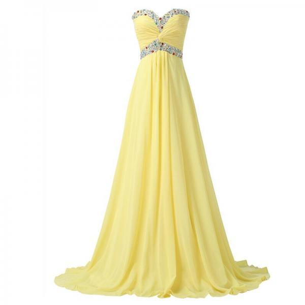 Floor Length A-Line Sweetheart Chiffon Evening Gown Formal Prom Dresses Women Party Dress Long Dresses with Crystals