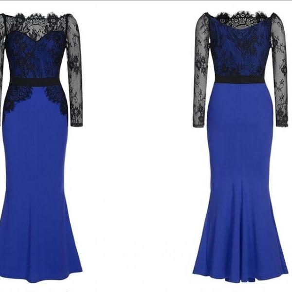 Royal Blue Red Black Mermaid Long Sleeve Elegant Evening Dresses Lace Chiffon Floor Length Women Formal Party Dresses