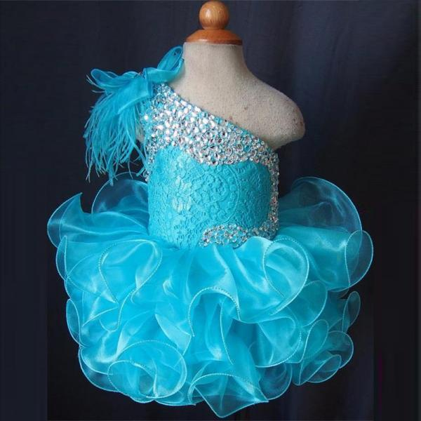2016 Newest Blue Little Girls Pageant Dresses Cupcake Princess Dress Custom Made Flower Girls Dresses with Crystals