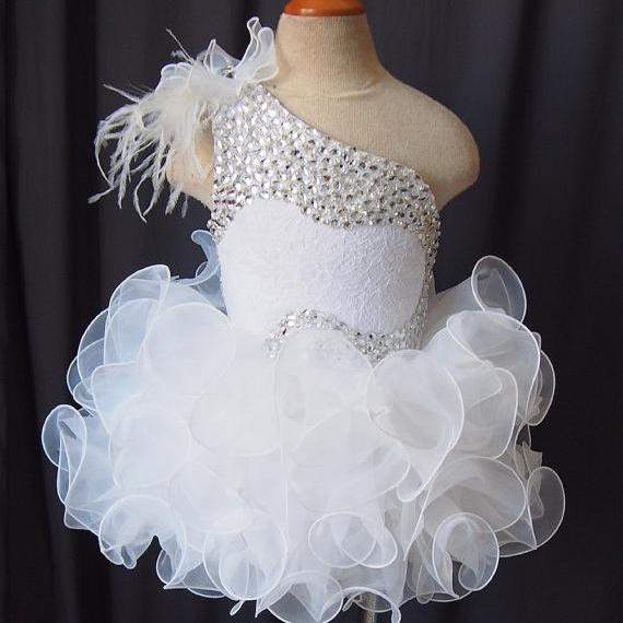 2016 Newest White Little Girls Pageant Dresses Cupcake Princess Dress Custom Made Flower Girls Dresses with Crystals