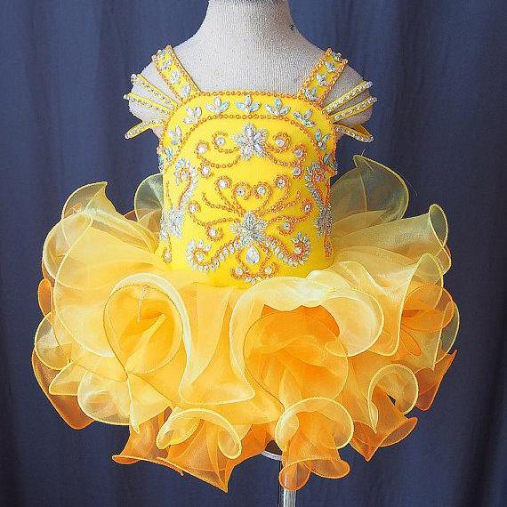 2016 Lovely Yellow Little Girls Pageant Dresses Cupcake Princess Dress Flower Girls Dresses with Beaded