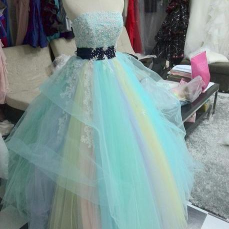 Fashion Rainbow Quinceanera Dresses For Sweeth 16 Real Ball Gown ...