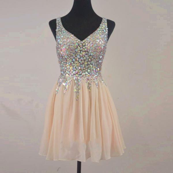 Sparkly V Neck Crystal Champagne Short Homecoming Dresses Mini Graduation Dress Cocktail Party Drsses