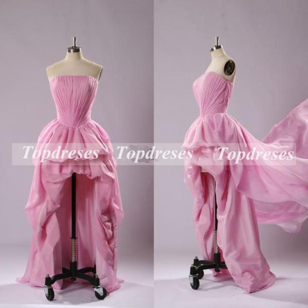 Top Quality Custom Made Fashion Prom Dress Pink Chiffon Ruffles Strapless Dress Asymmetrical hi-lo Prom Gown