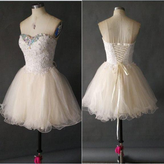 Sweetheart Party Dresses, Short Mini Graduation Dresses, Tulle and Beading Homecoming Dresses, Prom Dress, Lace Apliques Cocktail Dresses