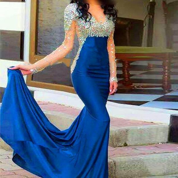 2016 New Royal Blue Satin Long Sleeve Prom Dresses Strapless Sheer Floor Length Mermaid Evening Party Prom Gowns Sexy Cheap