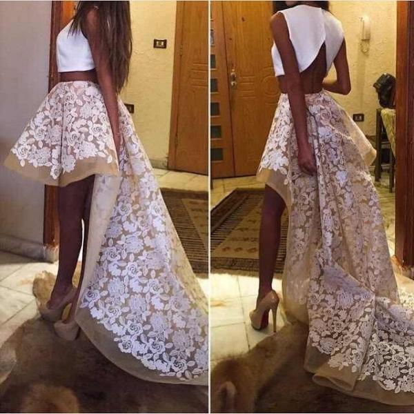 Sexy Two Pieces Lace Prom Dresses 2015 Party Graduation Gowns Crew A-line High Low Sleeveless White Cheap Pageant Dress