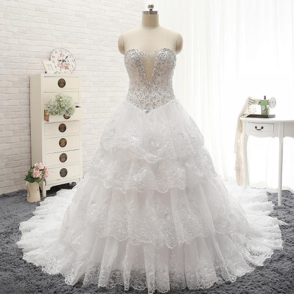 Free Custom Luxury Ivory Rhinestone Beaded Appliques Sweetheart Ball Gown Tiered Chapel Train Crystal Wedding Dress