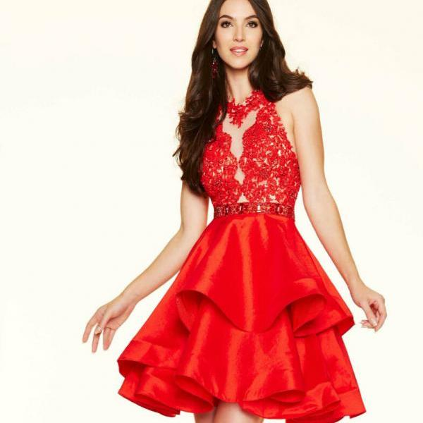 Elegant Ruffles Lace Cocktail Dresses Sleeveless With Beaded Hollow Mini A Line Formal Party Gowns High Quality Homecoming Dresses