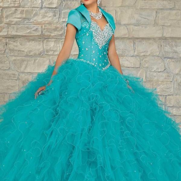 Free customize stones crystals tulle deep turquoise quinceanera dresses with bolero red prom dresses ,ball gown sweetheart floor length pageant party dress