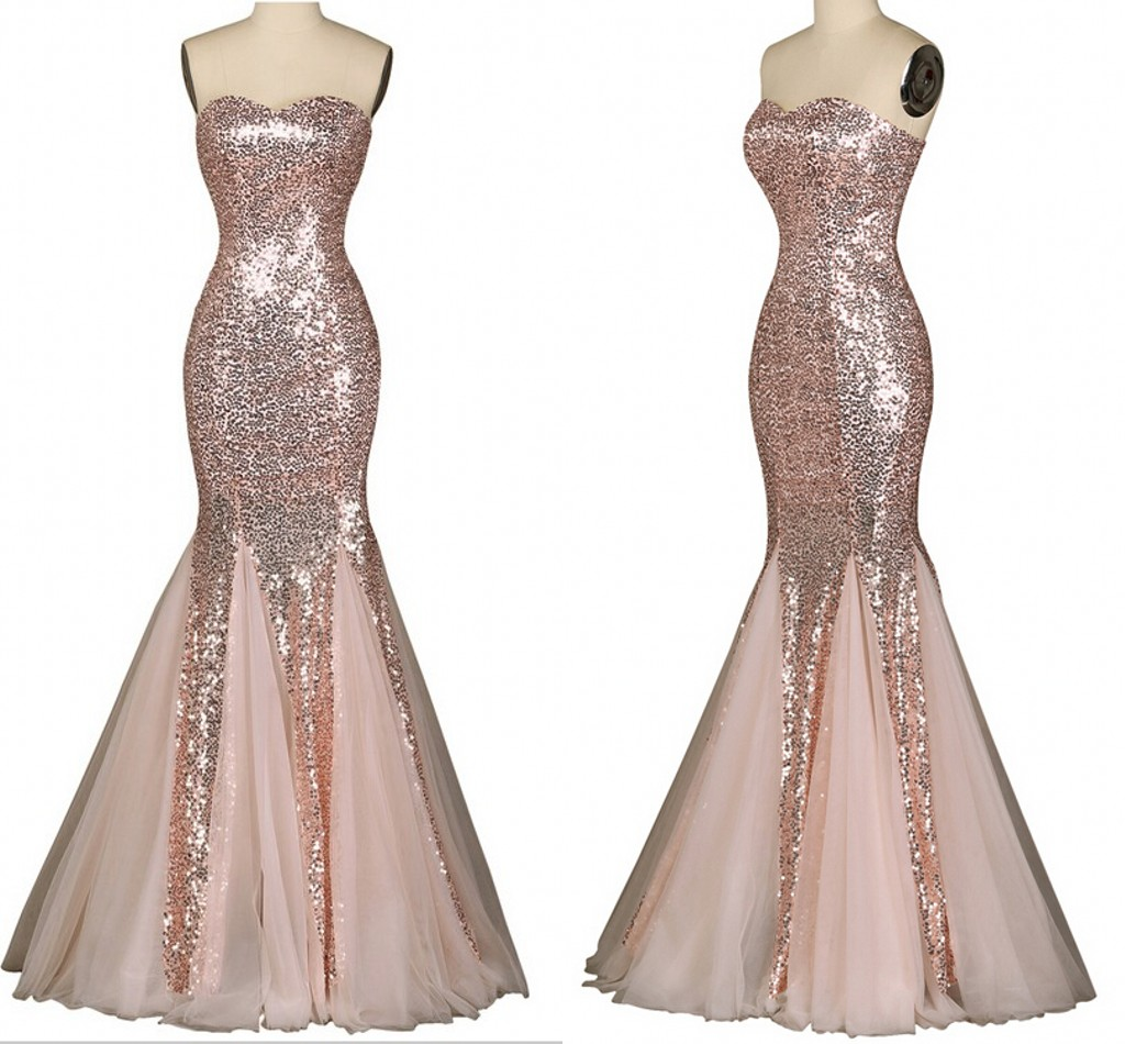 Nude Pink Women Party Dresses 2015 Real Mermaid Sexy Sweetheart Floor Length Sequins -9885